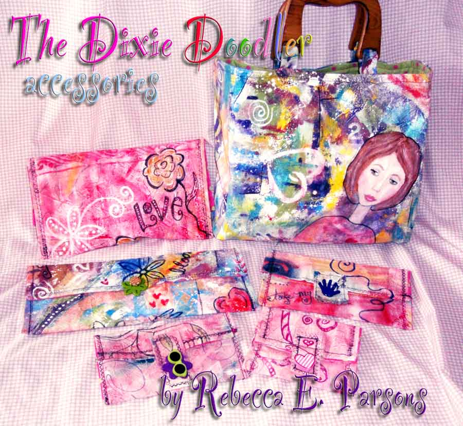 Rebecca E. Parsons painted fabric doodle bag purses