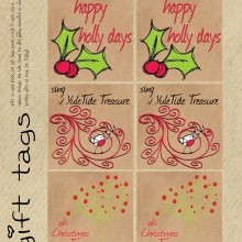 set of 6 gift tags with 3 different designs