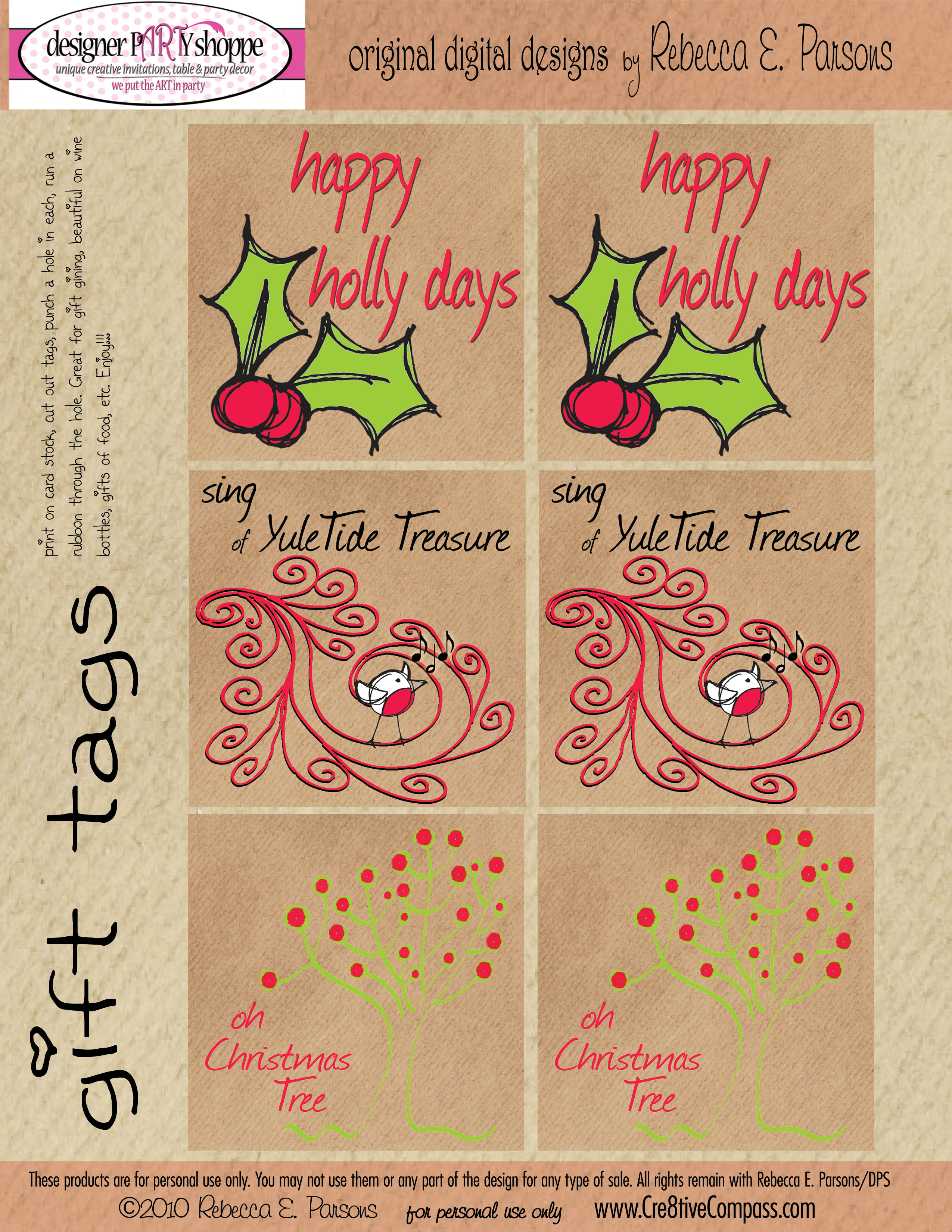 FREE Last Minute Christmas Gift Tags Printable set of 6 gift tags with 3 different designs