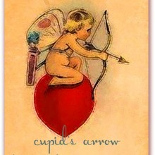 Cupid's Arrow is Coming Your Way Vintage Recycled V-Card