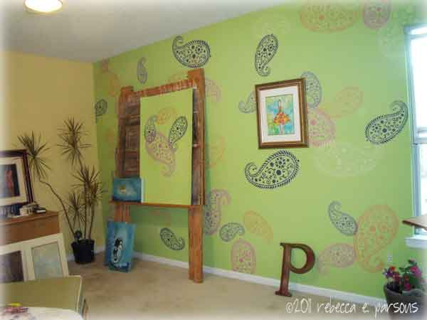 the vintage paisley Feeling Groovy stenciled wall