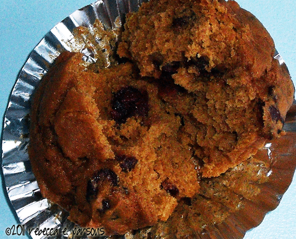 holiday baking pumpkin spice muffins with craisins