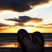 flips flops at sunrise