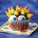 Halloween candy corn cupcake