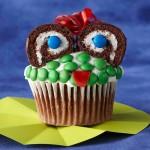 Halloween funny monster cupcake