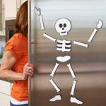 DIY Halloween fridge skeleton
