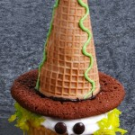 Halloween peeking witch cupcake