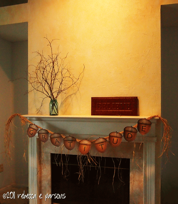 Thanksgiving Gratitude Banner on mantle