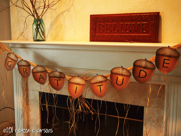 Thanksgiving Gratitude Banner on mantle printable