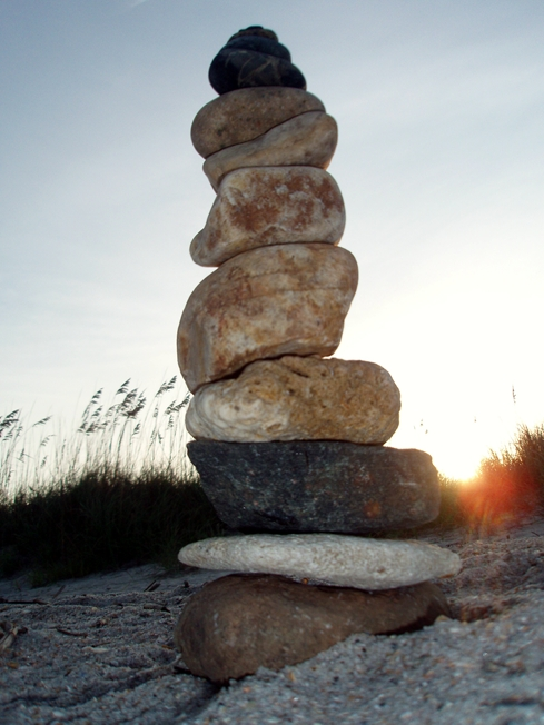 temporary art stacked stones by Rebecca E. Parsons