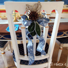 DIY Christmas Decor Vignette #21 ~ Elegantly Sumptuous Luxe 4 Less chair back decoration