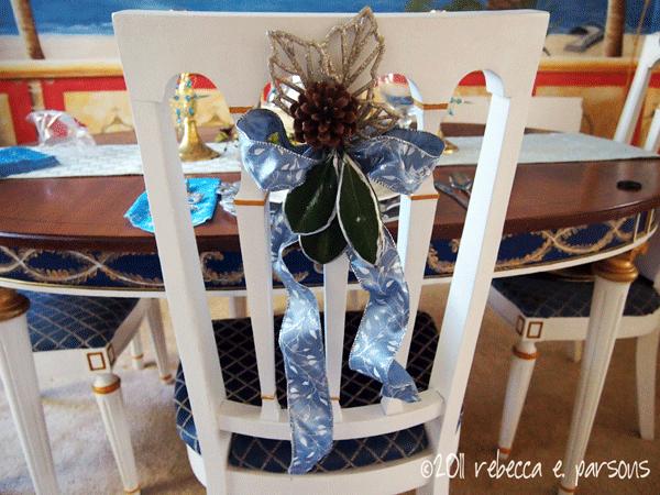 DIY Christmas Decor Vignette #21 ~ Elegantly Sumptuous Luxe 4 Less chair back decoration