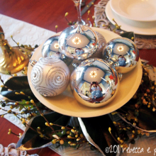 DIY Christmas Decor Vignette #20 ~ Elegantly Sumptuous Luxe 4 Less Table Decor