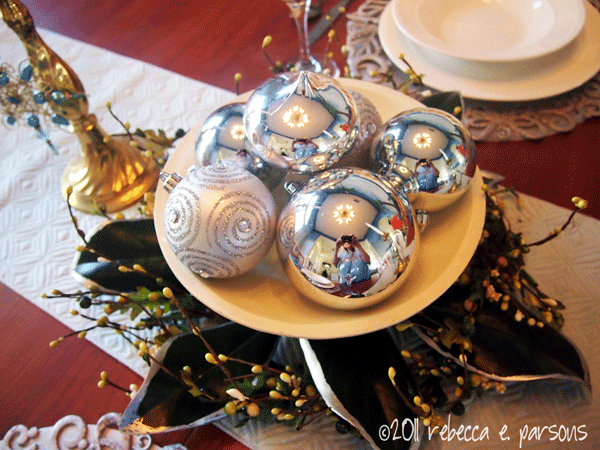 DIY Christmas Decor Vignette #20 ~ Elegantly Sumptuous Luxe 4 Less dining table decor