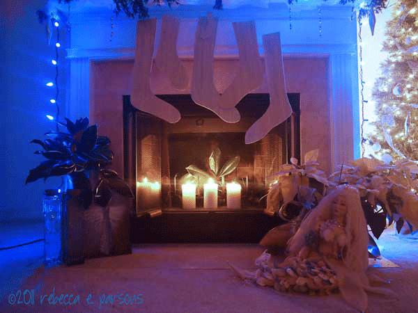 DIY Christmas Decor Vignette ~ Elegantly Sumptuous Luxe 4 Less fireplace