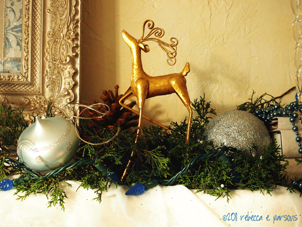 DIY Christmas Decor Vignette #18 ~ Elegantly Sumptuous Luxe 4 Less framed faux mirror