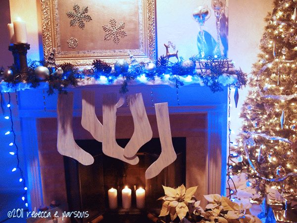 DIY Faux Wooden Stocking Tutorial hanging on mantle