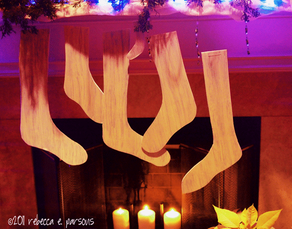 DIY Faux Wooden Stocking Tutorial on fireplace