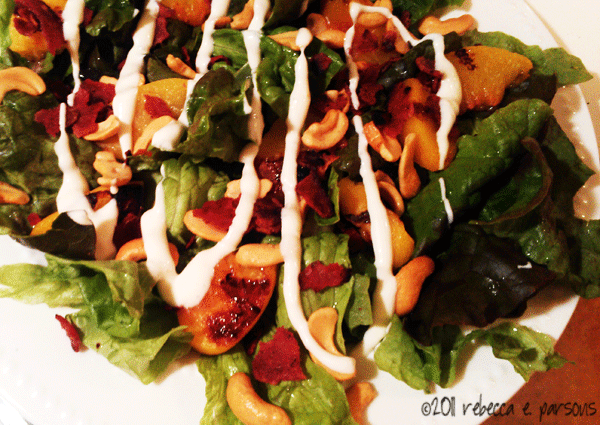 Grilled Peach Salad with Blue Cheese Dressing