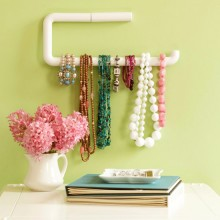 Display Jewelry on a PVC paper towel holder. Organization that doubles as a piece of art.