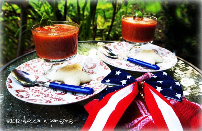 Chilled Tomato, Basil, Lavender Soup