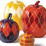 Country Sampler argyle painted pumpkins