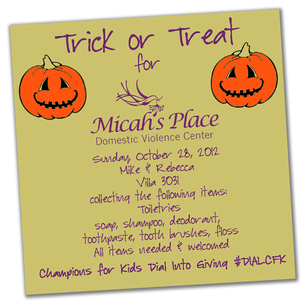 Micah's Place Trick or treat Flyer