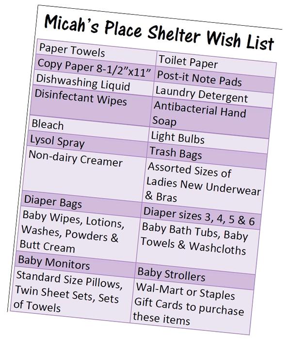 Micah's Place wish list #DIALCFK