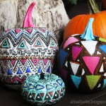 geometric painted pumpkins from alisa burke