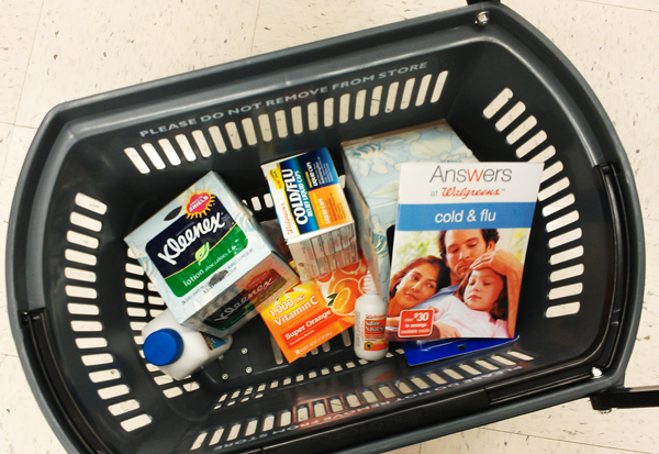 Wallgreens Cold and Flu products in basket #BalanceRewards