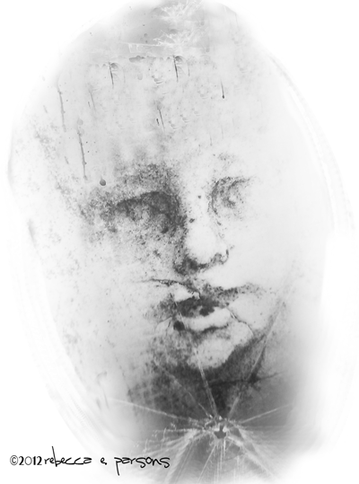 Ghostly face drawing photoshopped with textures by Rebeccas E. Parsons