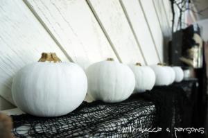Spooktacular Halloween Mantlescape painted pumpkins