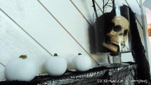 Spooktacular Halloween Mantlescape three skull in jar