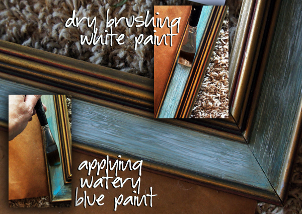 Painting the frame #GluenGlitter DIY Thanksgiving Chalk Board Tutorial