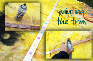 Painting the trim #GluenGlitter DIY Thanksgiving Chalk Board Tutorial