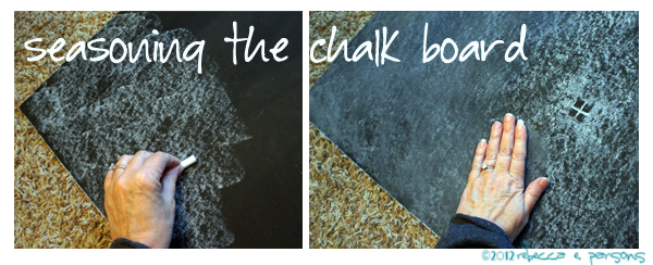 seasoning the chalk board surface DIY Thanksgiving Chalk Board Tutorial