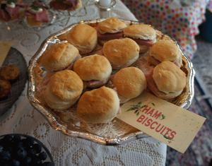 The St. Nicholas Bigelow Tea ham biscuits #AmericasTea