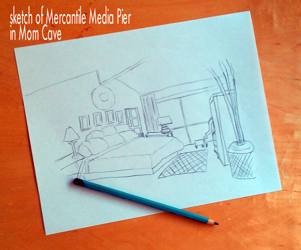 Sketch of media pier, desk, lamp in #MomCave La-z-boy