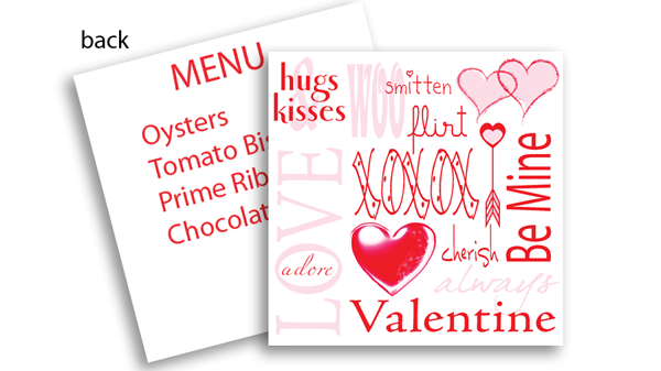 Valentine's Day Menu Card