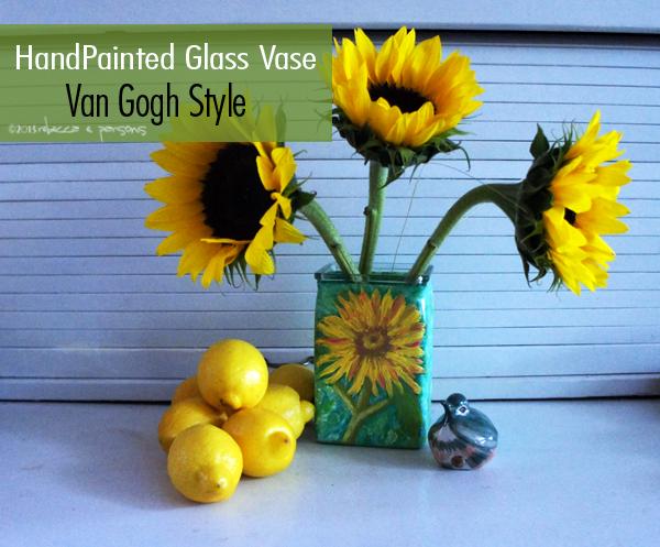 Van Gogh Painted Glass Vase #FAEnamels