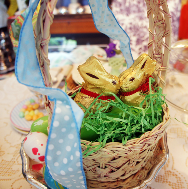 Bunnies in a basket Easter centerpiece Lindt chocolate