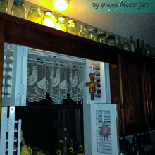 Home Vignettes – The Kitchen Window with My Blue Mason Jar Collection