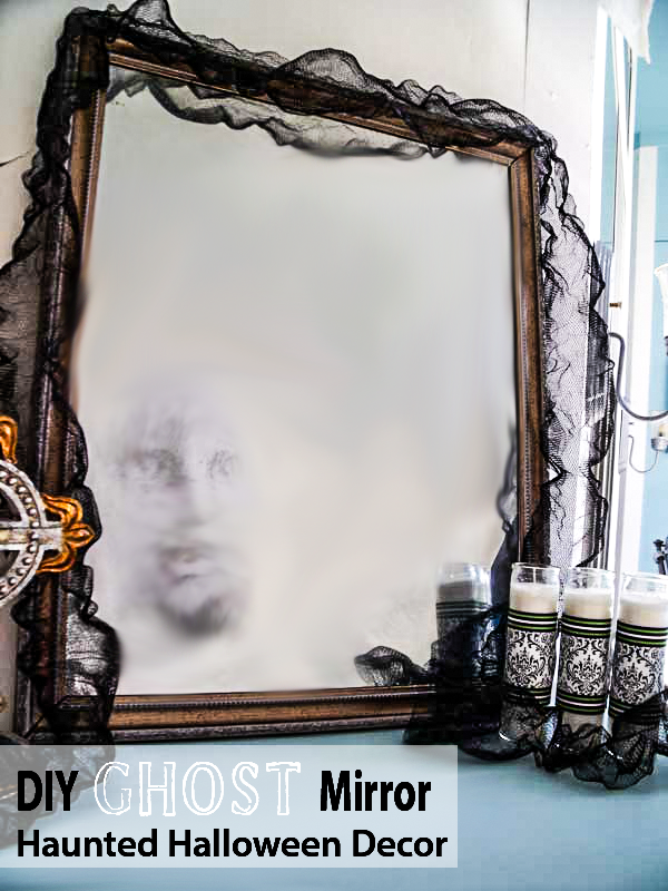 DIY Ghost Mirror, Haunted Halloween Decor, with Krylon Looking Glass Paint