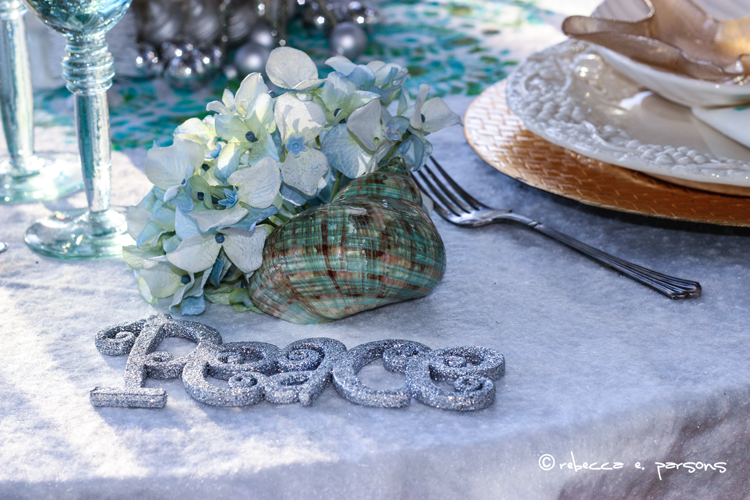 Beachy Christmas Brunch beautiful aqua shell  #royaldesignstudio