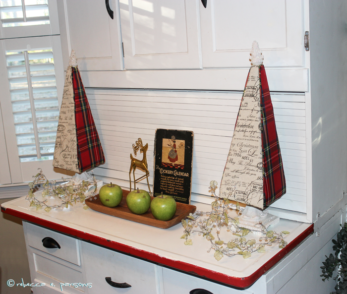My Breakfast Nook Plaid Christmas Trees on restored Hoosier cabinet #DIY #Decor #Christmas