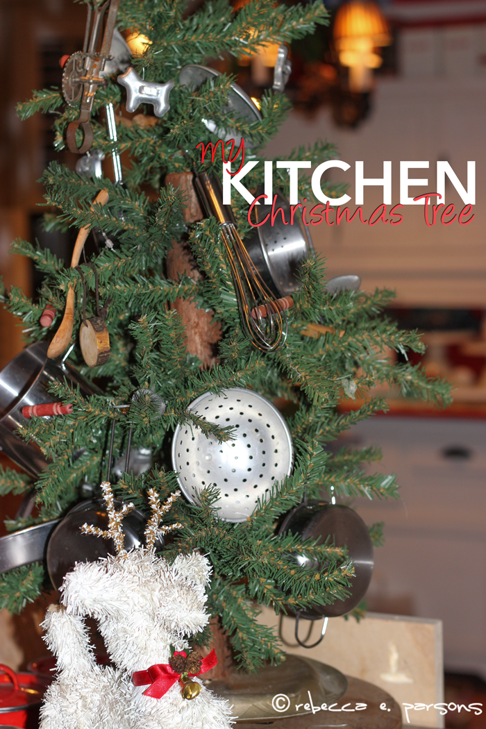My kitchen Christmas tree decorated with cooking treasures from all over the world