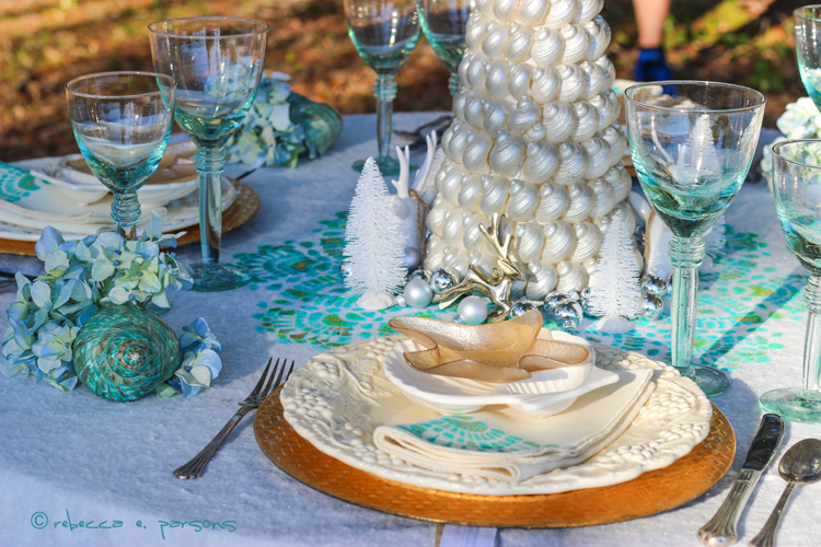 Beachy Christmas Brunch place setting and shell tree #royaldesignstudio