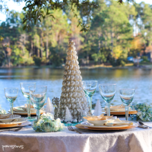 Beachy Christmas Brunch Tablescape ~ DIY Stenciled Cloth & Napkins