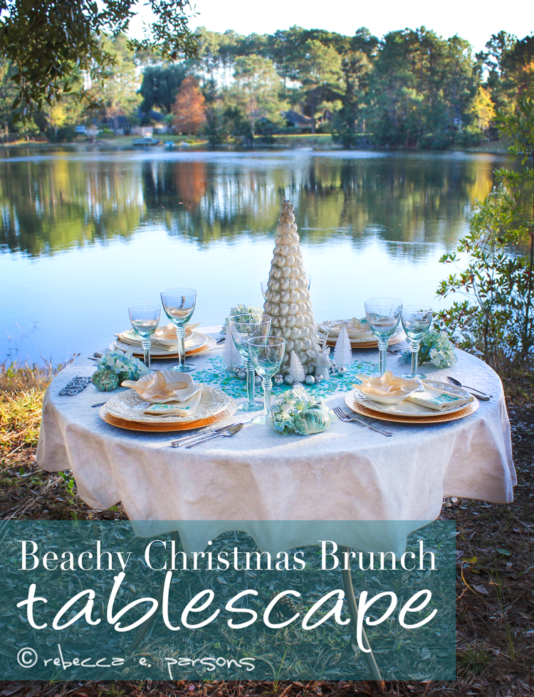 Beachy Christmas Brunch Tablescape by the lake