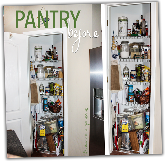 Disorganized pantry before images